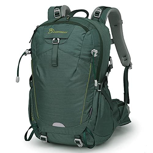 MOUNTAINTOP 35L Zaino Trekking Outdoor Multifunzione Zaino per Uomo Donna da Escursionismo Campeggio Viaggio Zaini con Copertura della Pioggia (Marrone)