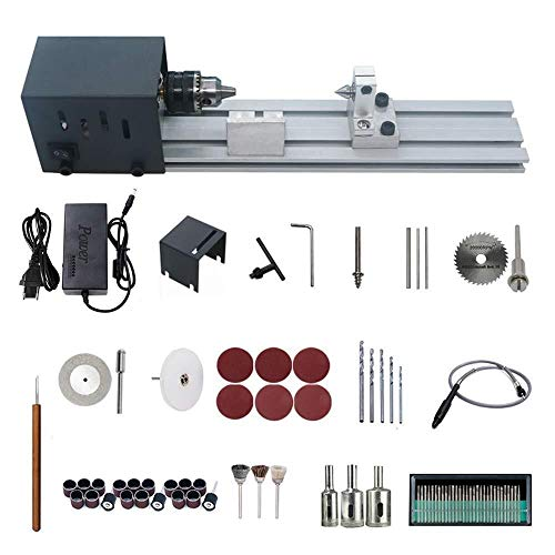YUQIYU DC 24V 80W Mini Lathe, Polisher Machine Woodworking Craft DIY Rotary Tool Set Standard Grinding Set