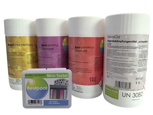 Pool Starter Set, 5 in 1, für Pool Whirlpool Planschbecken zur Desinfektion pH Regulierung Algenverhütung