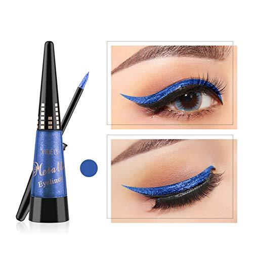 Glitter Augen Liner, ROMANTIC BEAR Glitzer Wasserfest Flüssig Lidschatten Stift Langlebig Schimmer Pigment Metallic Liquid Eyeliner (Blau)