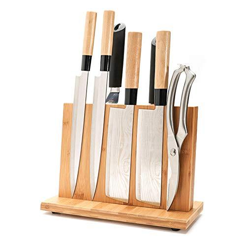 Aly Portacuchillas Magnético con Potente Imán de Bambú para Cuchillos con Protección Magnética, Sin Cuchillo