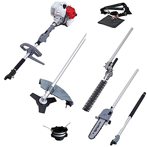 IKRA herramienta multifunción a gasolina IBKH 4en1: cortabordes, desbrozadora, cortasetos telescópico y podadora de altura