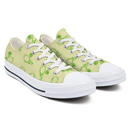 Womens Latest Canvas Low Top Sneaker Tennis Racquets and Tennis Balls Girl Fashion Lace Up Canvas Shoes