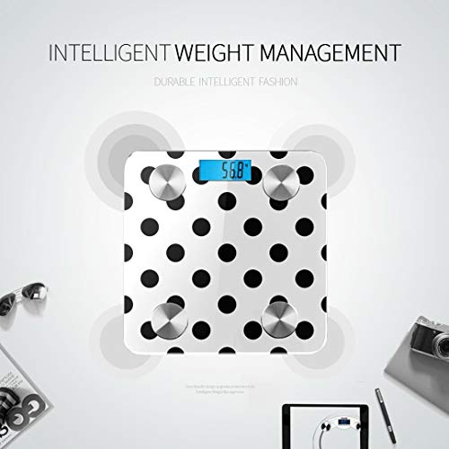 JXCSGBD Black and White Seamless Polka Dot Pattern Vector Scales Digital Weight Fat Muscle Scale Best Rated Bathroom Scales Tracks 8 Key Compositions Analyzer Sync with Fitness Apps 400 Lbs