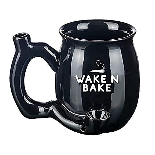 Novelty Porcelain Thick Coffee Pot Mug With Pipe, Wake And Bake, Stoner, Puff Puff Pass, 12 oz (WakeNBakeMug)