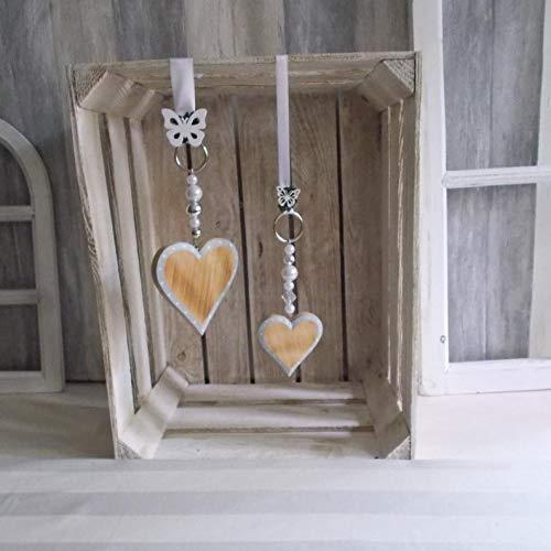 2er Set Fensterdeko, Hänger mit Holz-Herz in zweierlei Größen, Türkranz