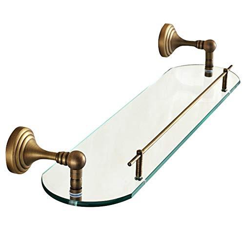 ZJKL Badezimmerregal Rack Waschraum Dusche Wand Eckspiegel Frontrahmen Becken Glas Lagerung mit Pol geschnitzt,EIN,52 * 11,5 CM