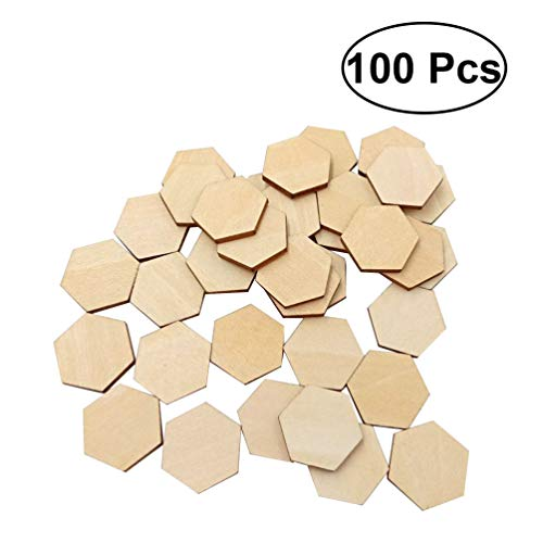 Heallily 100PCS 25MM Unfinished Wood Slices Hexagonal Christmas Wooden Ornaments Wooden Discs DIY Crafts Embellishments Wooden Pieces for Scrapbooking Birthday Christmas Wedding