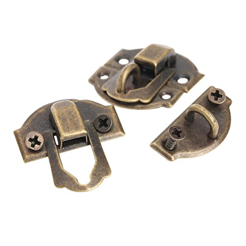 Dophee 10pcs Antique Brass Decorative Hasp Jewelry Wooden Box Hasp Latch Lock with Screws