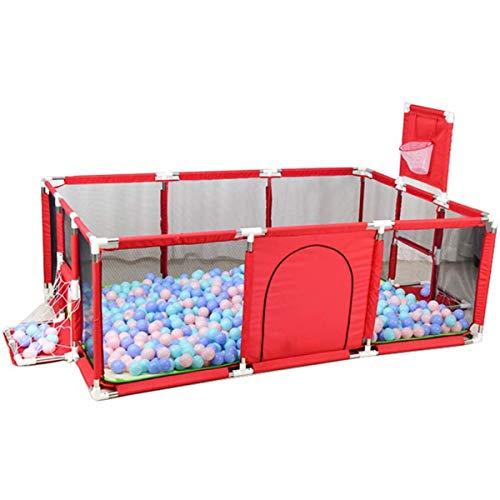 ZHKXBG Corralito portátil Grande para Carpa de Bolas para bebés, con Malla Transpirable de aro de Baloncesto, para Interiores al Aire Libre, niños pequeños,Rojo