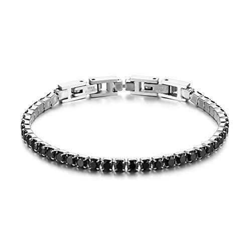 JewelryWe Bracciale da Donna Uomo Fidanzati con Zircone Lucido Perline Braccialetto di Tennis Eleganza Moderna Regalo