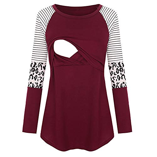 Nursing Top PullIover Women Breastfeeding T Shirt Long Sleeve Blouse Leopard Hoodie Wine