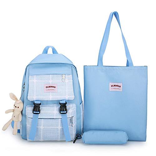 CPFYZH Dreiteiliger Rucksack Trendige Schultasche für Schüler der Mittelklasse Rucksack mit großer Kapazität - Blau_16 Zoll