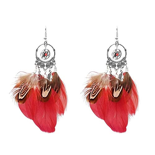Nuevos Pendientes Atrapasueños Moda europea y americana Colgante de plumas de pavo real colorido Pendientes femeninos étnicos retro-Rojo
