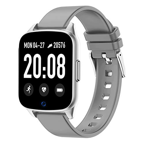 Fitness Tracker Watch for Women Men - Heart Rate Blood Pressure Oxygen Monitor Health Exercise Watch, Activity Tracker with Weather Step Calorie Counter, Waterproof Smart Fitness Watch (Silver Gray)