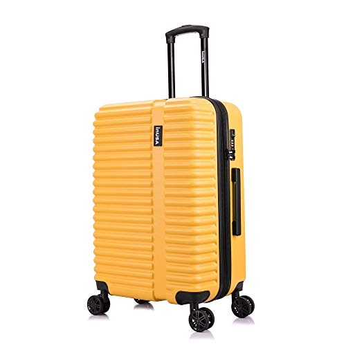 InUSA Hardside 24 Inch Medium Lightweight Luggage with Ergonomic Handles and TSA Lock, Ally Collection Travel Suitcase with Spinner Wheels, Mustard