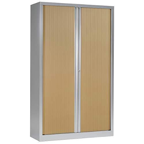 Armoire Monobloc à rideaux | Aluminium | Chêne Clair | 1980 x 1200 x 430 | Certeo