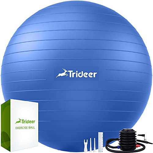 Trideer Extra Thick Yoga Ball Exercise Ball, 5 Sizes Ball Chair, Heavy Duty Swiss Ball for Balance, Stability, Pregnancy and Physical Therapy, Quick Pump Included