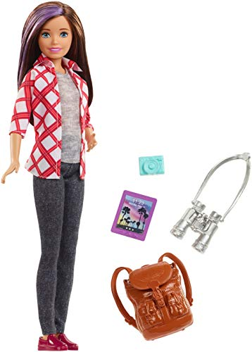 Barbie FWV17 Travel Skipper Doll, with 4 Accessories, Brunette with Purple Streak