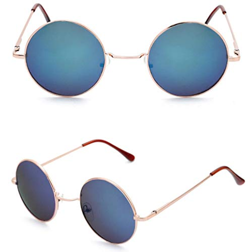 QSMIANA Gafas Color De Caramelo Redondo Gafas De Sol Mujeres Moda Gafas De Sol Mujer Vintage Mirror Classic