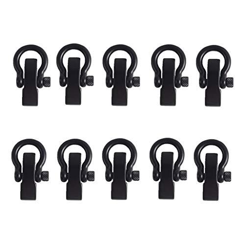 sharprepublic Hebilla de Pulsera de Grillete Ajustable en Forma de D Inoxidable 10pcs Negro