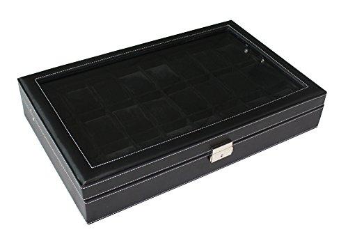 Woolux Leder Uhrenbox für 24 große Uhren mit Sichtfenster Uhrenvitine in schwarz