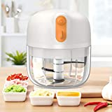 2021 UPGRADED Mini Food Chopper Electric, [Efficient Than Ever] Garlic Chopper Wireless Portable 250ML BPA Free for Pepper Garlic Chili Vegetable Meat/Puree, Baby Food TREBLEWIND (White)