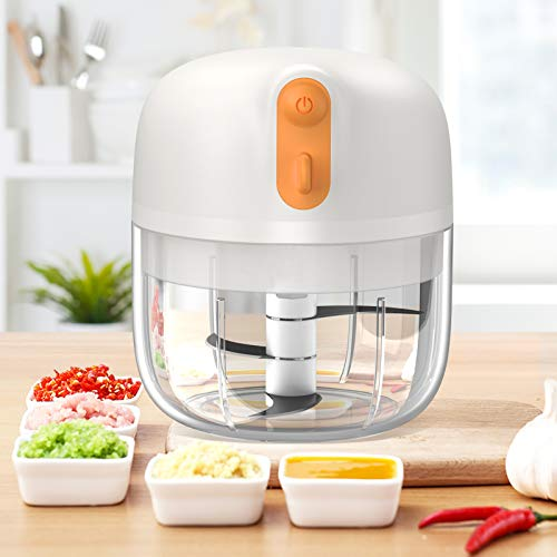 2021 UPGRADED Electric Mini Food Chopper Processor, [Efficient Than Ever] Wireless Garlic Chopper 250ML BPA Free for Pepper Garlic Chili Vegetable Meat/Grinder/Puree, Baby Food TrebleWind (White)