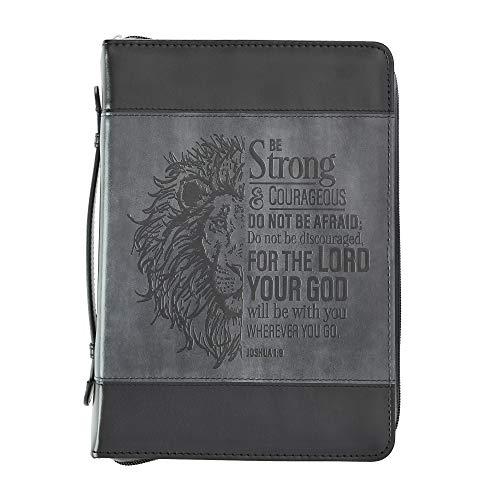 Be Strong Lion Two-Tone Black Bible Cover - Joshua 1:9 - Medium