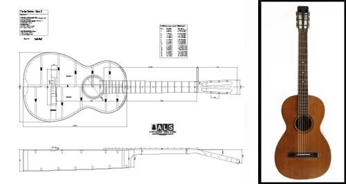 Plan of a Vintage martin-style Parlor (Parlour) Akustische Gitarre–Full-Scale Print