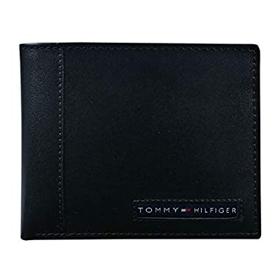 Tommy Hilfiger Men's Leather Wallet - Thin Sleek Casual Bifold with 6 Credit Card Pockets and Removable ID Window, Black Cambridge