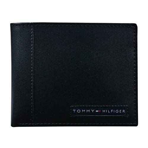 Tommy Hilfiger Men's Leather Wallet – Slim Bifold with 6 Credit Card Pockets and Removable ID Window, Black Cambridge, One Size