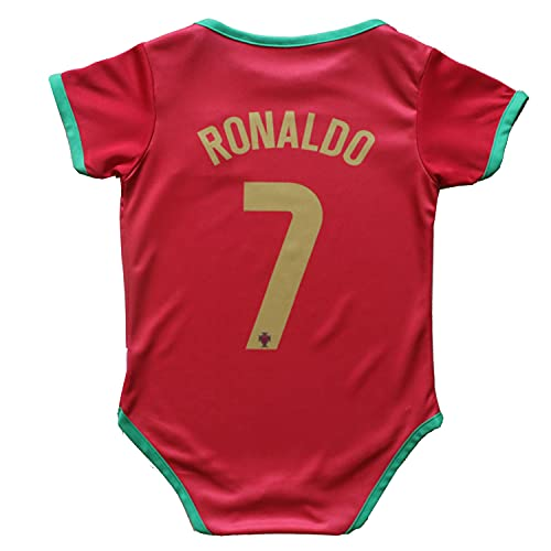 FPF Portugal Home #7 Cristiano Ronaldo National Soccer Team Club Cotton Bobysuit Baby Suit for Romper Infant & Toddler (Portugal Home, NB-9M)