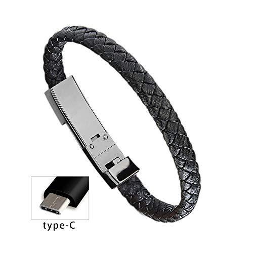 Cable cargador llavero Diadia llavero cargador cable micro USB cable de datos de sincronización para teléfono Android, cable de carga portátil tipo C pulsera (tipo C 22,5 cm)