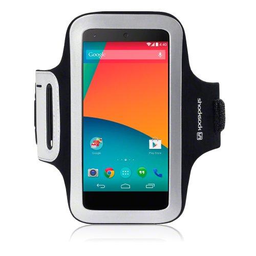 Shocksock Reflective Sports Armband with Dual Arm-Size Slots for LG Nexus 5 (Black)