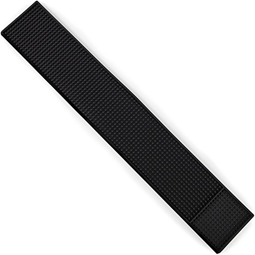 """24"""" x 4"""" Black Rubber Bar Top Spill Mat   Professional Bartender's Essential Non-Slip Drink Cocktail Mixing Service Mat for Industrial and Home Kitchen Counters"""
