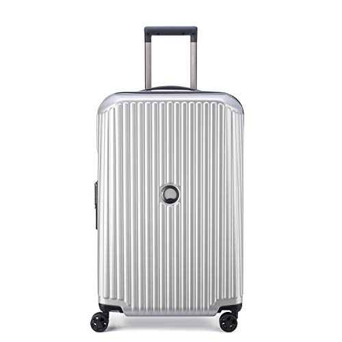 DELSEY Paris Securitime Expandable Luggage with Spinner Wheels, Silver, Checked-Medium 25 Inch