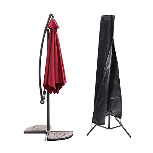 Essort 600D Oxford Housse de protection étanche pour parasol avec Fermeture éclair, étui de Protection Noir pour Parasol adapté pour Parasol de Jardin,, 189 cm × 57.5 cm × 26 cm