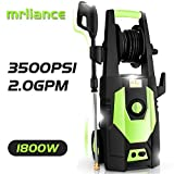 mrliance 3600PSI Electric Pressure Washer 2.4GPM Power Washer 1800W High Pressure Washer Cleaner Machine with Spray Gun, Hose Reel, Brush, and 4 Adjustable Nozzle (Green)