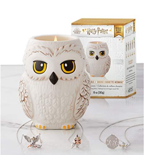 Harry Potter Duftkerze Hedwig mit Halskette von Charmed Aroma, Kerze Eule mit Schmuck