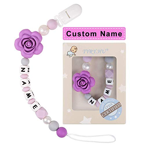 Pacifier Clip Personalized Name TYRY.HU Girls Binky Holder Baby Silicone Paci (Purple Rose)