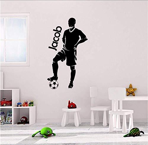 DIY PVC Vinyl Wandtattoo Wohnkultur Cartoon Fußball Spieler Personalisierte Aufkleber Personalisierte Name Handy Name Vinyl Fußball Wandaufkleber Kinderzimmer Wandaufkleber 58X103 CM