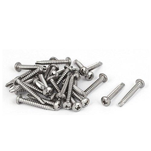 uxcell A16042500ux0880 M3,5 x 25 mm # 6–20 Filetage 410 en acier inoxydable perçage Vis auto-taraudeuses