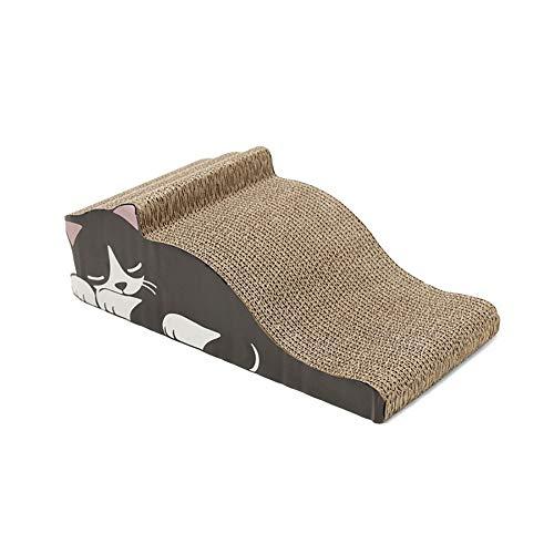 Ouzhoub Junta de Dibujos Animados Cat Scratch Usar-Resistencia Agarre Plate Paneles ondulados Juguete del Gato del Gato Vent cartón para raspados (Color : Black)