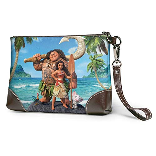 Moana Leather Clutch Purses Bag Wallets Strap Zipper Soft Leather Wristlet Clutch Bags for Women Men Leather Clutches