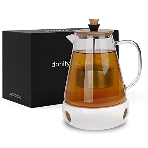 Donify® Teekanne mit Siebeinsatz 1500ml Glas Teebereiter mit Stövchen für den genießenden...