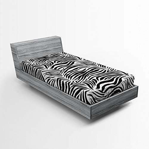 ABAKUHAUS El Estampado de Zebra Sábana Elastizada, Líneas Salvajes Cebra, Suave Tela Decorativa Estampada Elástico en el Borde, 90 x 200 cm, Blanco Negro