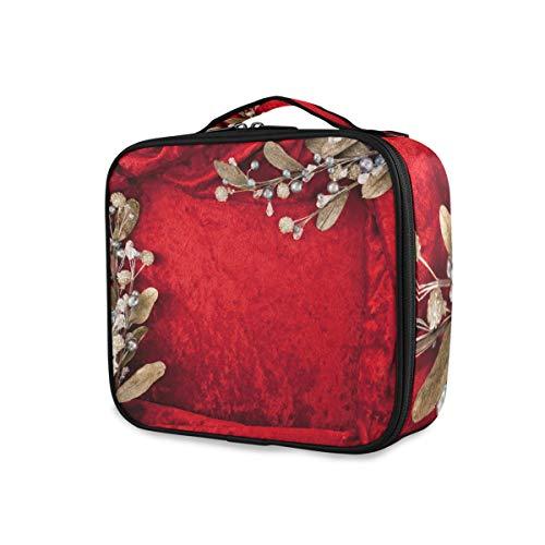 Bruiloft uitnodigingskaart rode bloem reis draagbare gereedschappen cosmetica trein geval make-up tas opslag toilettas schoonheid