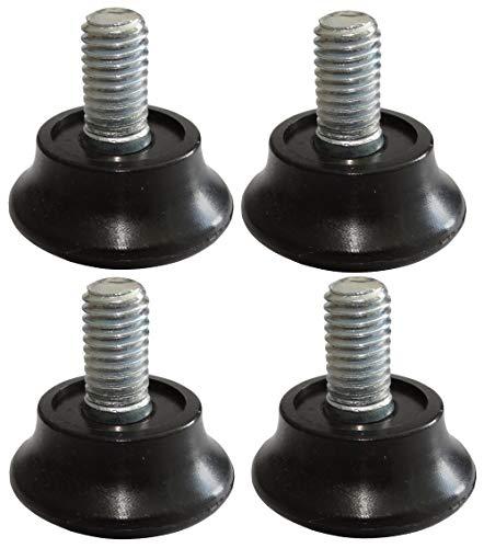 AERZETIX: 4x Patas ajustables regulables para muebles M8 para atornillar Ø28 H9mm negro C42428