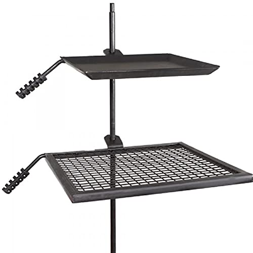 Adjustable Swivel Grill, Steel Mesh Cooking Grate with Spike Pole and Griddle Plate